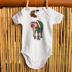 Patterned Elephant Babygrow by EternalJellyfishShop on Etsy Jellyfish, Onesies, Elephant, Trending Outfits, Unique Jewelry, Handmade Gifts, Pattern, Etsy, Clothes