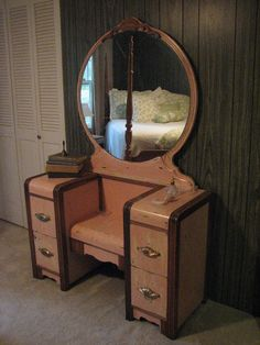 Antiqued Pink 1950's Waterfall Vanity  Refinished by Causally Chic Corner
