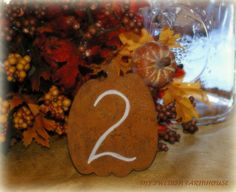 Table Number Pumpkins Rustic FALL Wedding Decor (CHOICE of NUMBER or Initials and Date). $39.00, via Etsy.