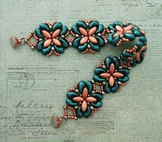 Linda's Crafty Inspirations: Bracelet of the Day: For Your Eyes Only - Teal & Copper