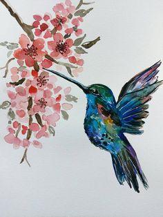 Hummingbird painting Bird painting Watercolor Nursery art