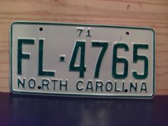 1971+North+Carolina+Rat+Rod+License+Plate+Tag+NC+#FL-4765+YOM