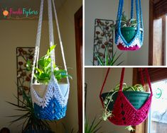Free Crochet Plant Hanger Pattern using the never ending star, pattern fits most commonly sized pots or customize yours to fit your pot size.