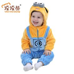 Minions Baby Clothes Romper Infant Costume New Spring Hooded Flannel Toddler Romper Infant Jumpsuit Clothing Baby Costume