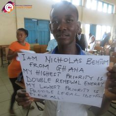 Meet Nicholas from Ghana - after participating in the Youth Forum, he had to choose one high and one low priority for the post-2015 development agenda. He chose 'double renewable energy' as a high target. His chosen low target is 'provide legal identity for all'.