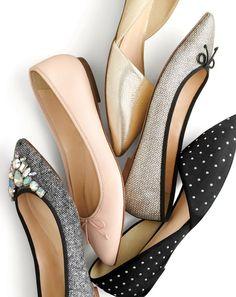 J.Crew women's Gemma jeweled tweed flats, Gemma flats in desert pink, Sloan gold d'Orsay flats, Gemma glitter flats and Sloan studded suede d'Orsay flats.