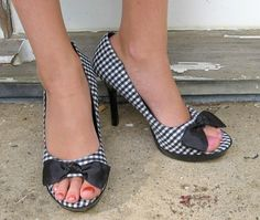 Etsy http://www.etsy.com/listing/52804657/vintage-black-and-white-checkered-pumps