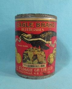 EAGLE Brand Blueberries - Early Soldered Tin w/ Label - Columbia Falls, ME Maine