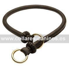 Collar estrangulador de cuero natural para perros desobedientes Cane Corso para enseñarles no tirar de la correa durante el paseo - C97 (10 mm)