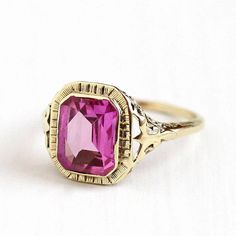 Vintage Yellow Gold Filigree Created Pink Sapphire Ring - Size 8 Art Deco Hot Pink 2 + Carat Stone Women's Statement Fine Jewelry by Maejean Vintage on Etsy Antique Rings, Vintage Rings, Vintage Jewelry, Pink Sapphire Ring, Jewelry Showcases, Gold Filigree, Art Deco Ring, Pink Stone, 2 Carat