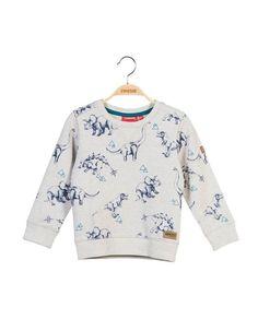 Someone - Meleegrijze sweater met blauwe all-over dinoprint