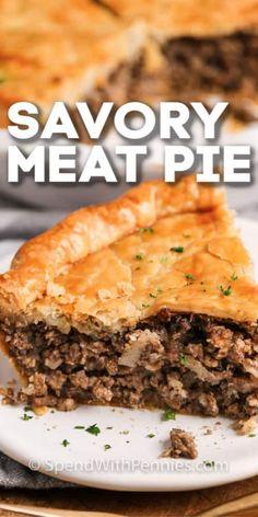 Easy Meat Pie Recipe, Easy Pie Recipes, Pork Recipes, Cooking Recipes, Ground Beef Recipes Easy, Cooking Ground Beef, Recipe Using Ground Pork, French Meat Pie, Beef Pot Pies