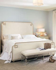 Shop Ophelia Upholstered Queen Bed from Bernhardt at Horchow, where you'll find new lower shipping on hundreds of home furnishings and gifts. Farm Bedroom, Bedroom Decor, Bedroom Ideas, Bedroom Lighting, White Bedroom, Bedroom Designs, Bedroom Inspiration, Luxury Bedroom Furniture, Bernhardt Furniture