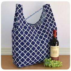 usable Bag / Reusable Shopping Bag / Farmers Market Bag / Reusable Grocery Bag / Reusable Shopper / Washable Bag – Navy Patio by MollieMoxie on Etsy