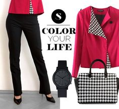 Color your life with Sarasid instead of the gray little business suit! raspberry Giselle BLAZER + black Jane PANTS #outfit #raspberry #sarasid #sarasidclothing #Lotus #business #casual #businesscasual #clothing #design #fashion #mode #dress #blacknwhite #contrast #women #confidence #selfesteem