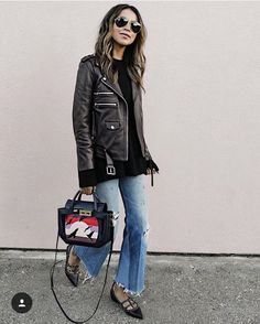 Best Leather Jacket Collections For Cool Women Style Best Fashion Blogs, Fashion Blogger Style, Fashion Bloggers, Fashion Trends, Mode Outfits, Trendy Outfits, Fashion Outfits, Summer Outfits, Look Cool