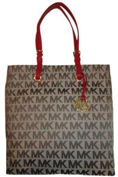 Women's Michael Kors Purse Handbag Tote Beige/Ebony/Red