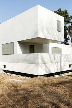 Das neue Meisterhaus Gropius, Bruno Fioretti Marquez Architekten 2010-2014, von der Gartenseite. Foto: Sebastian Gündel, 2014, Stiftung Bauhaus Dessau
