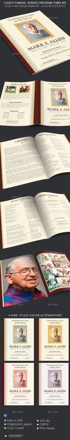 Funeral Program Service Template  Program Template Funeral And