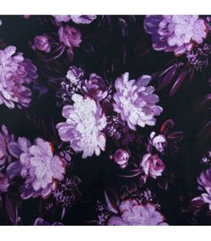 """A warm, cozy acrylic knit, printed with painterly flowers.Color(s): Black, Purple  Width: 60""""Fiber: Acrylic Care: Machine Wash Delicate, Tumble Dry Low  Recommended for: Blouses, Dresses, Skirts, Tops."""
