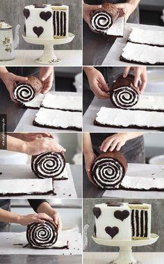 Striped Cake How to Make Gorgeous Chocolate Stripe Cake Food Cakes, Cupcake Cakes, Cake Fondant, Sweet Recipes, Cake Recipes, Dessert Recipes, Baking Desserts, Easy Desserts, Striped Cake