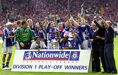 Ipswich Town, Division One Playoff winners against Barnsley, Watched this in a bar in Cape Town with wife and eldest 2 kids (me and kids in Town kit) what a day! Ipswich Town Fc, Classic Football Shirts, Barnsley, Football Team, Cape Town, Division, Baseball Cards, Day, Sports