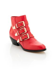 Red buckle booties