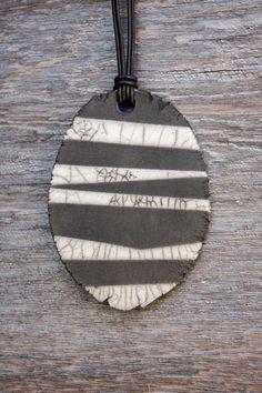 Raku Ceramic Necklace Lightweight Black and White Crackle Zebra Leather