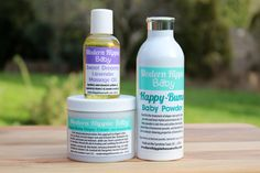 Modern Hippie Baby Combo Pack - Diaper Cream & Baby Powder with bentonite clay, and Sweet Dreams Massage Oil, by ModernHippieShop