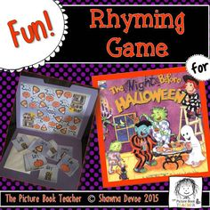 Have fun practicing rhyming with this Match the Rhyme Game inspired by The Night Before Halloween by Natasha Wing.