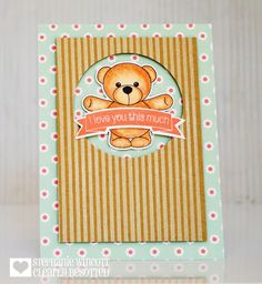 Clearance Sale: was now Mini clear stamp set comprising 9 separate stamps. Inspiration for this set can be found here. Love You So Much, My Love, Clear Stamps, Teaser, Card Making, Stripes, Baby Shower, Crafty, Bear Hugs