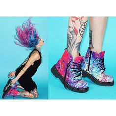 Play it up in color! Our Mix Paint Print Vegan Combat Boot is the perfect match with cruelty-free @arcticfoxhaircolor! Check their new website here – www.ArcticFoxHairColor.com| Model: @kristenxleanne & shot by @theryanmorgan #TUKSHOES #ArcticFoxHairColor #VEGAN