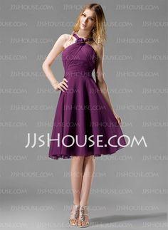 A-Line/Princess Halter Knee-Length Chiffon Bridesmaid Dresses With Ruffle (007004170) - JJsHouse
