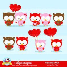 Valentine owl digital clipart VALENTINE OWL clip by ClipArtopia
