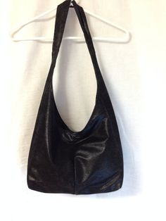 Handmade Hobo / Sling Bag / Black Faux Leather on Etsy for $19.95