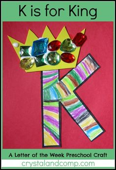 I'm Anna from The Measured Mom - and this week I'm sharing a Letter of the Week Craft for letter K. Looking for even more alphabet activities for preschooler Preschool Letter Crafts, Alphabet Letter Crafts, Abc Crafts, Preschool Projects, Classroom Crafts, Alphabet Activities, Preschool Activities, Alphabet Book, Letter Art