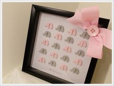 Decorate your nursery in style with 3D ELEPHANT Art in Framed Shadow Box birth announcement that celebrates the birth of your little one.
