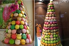 """Very flashy """"pièces montées"""" with macarons"""