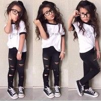 Cute Kids Girls Two Pieces Cool Letters Print O-Neck Short Sleeve T-shirt and Holes Pants Outfits Se