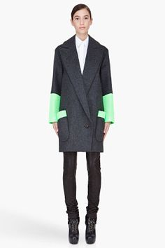 Love this coat! Hussein Chalayan Charcoal Signature Statlon Coat for Women | SSENSE
