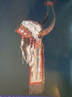 Upper Missouri split horn headdress with quillwork