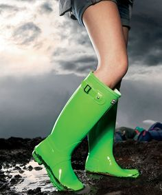 Green, wide wellies