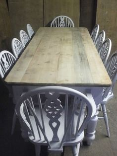 Shabby Chic Dining Kitchen 7foot Pine Farmhouse Table