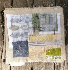 The other weekend i thought i'd try fabric - in the form of old white pillowcases... i used the same techniques - stamping and layering Then i cut up smaller bits for a fabric 'collage' -- Dudley Redhead: Gelli plate printing.. continues