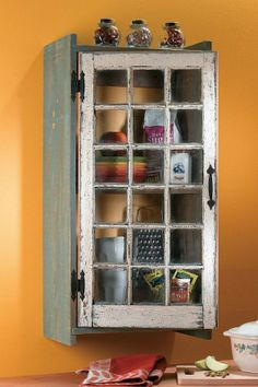 """So often it's a case of """"out with the old and in with the new"""", particularly when it comes to windows. Many old windows are beauti. Primitive Crafts, Country Primitive, Country Sampler, Repurposed Furniture, Diy Furniture, Repurposed Shutters, Furniture Design, Repurposed Wood, Salvaged Wood"""