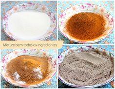 Capuccino cremoso caseiro - Ingredientes 500g de açúcar refinado 400g de leite em pó (equivalente a 1 lata) 50g de café solúvel 4 colheres de sopa de chocolate em pó ou cacau em pó 1 pacote de chantilly em pó 1 colher de sopa de bicarbonato de sódio 1 colher de sopa de canela