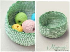 Knitted basket out of plastic bags from Anna Lomakina / Amazing Handmade