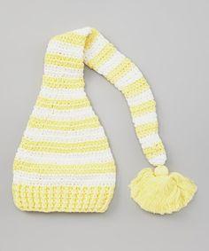 Loving this chéri by Bébé Oh La La Yellow & White Stripe Crochet Elf Beanie on #zulily! #zulilyfinds