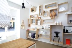 love the box shelves Decor, Shelves, Interior, Home, Store Interiors, House Interior, Shop Interiors, Furnishings, Shelving