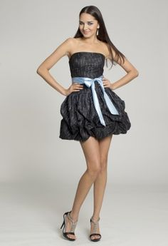 Short Dresses - Glitter Strapless Dress with Ribbon Trim from Camille La Vie and Group USA
